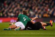 17 November 2018; Rieko Ioane of New Zealand is tackled by Kieran Marmion of Ireland during the Guinness Series International match between Ireland and New Zealand at Aviva Stadium, Dublin. Photo by Brendan Moran/Sportsfile