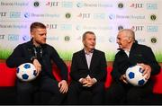 21 November 2018; Irish football legends Damien Duff and John Giles along with Dr Alan Byrne, Consultant in Sports and Exercise Medicine at Beacon Hospital, joined Beacon Hospital to launch its new sports medicine initiative with the Leinster Senior Football League, at the National Sports Campus in Abbotstown, Dublin. Previously, access to treatment for injured players in the Leinster Senior Football League could take a significant amount of time and was costly in many cases. Now, players injured during LSL training or match will have quick access to internationally renowned sports medicine experts at Beacon Hospital. Both JLT and AIG have signed up as insurance partners on the programme, so the bulk of injury related medical expenses will be covered, reducing costs for players. Beacon Hospital offers best in class treatments for injury prevention and management, with a multi-disciplinary or team-based approach. Beacon's Sports Medicine facility allows for rapid player access to sports medicine physicians, orthopaedic consultants and physiotherapy and radiology services. Photo by Stephen McCarthy/Sportsfile