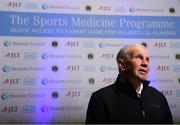 21 November 2018; Irish football legend John Giles joined Beacon Hospital to launch its new sports medicine initiative with the Leinster Senior Football League, at the National Sports Campus in Abbotstown, Dublin. Previously, access to treatment for injured players in the Leinster Senior Football League could take a significant amount of time and was costly in many cases. Now, players injured during LSL training or match will have quick access to internationally renowned sports medicine experts at Beacon Hospital. Both JLT and AIG have signed up as insurance partners on the programme, so the bulk of injury related medical expenses will be covered, reducing costs for players. Beacon Hospital offers best in class treatments for injury prevention and management, with a multi-disciplinary or team-based approach. Beacon's Sports Medicine facility allows for rapid player access to sports medicine physicians, orthopaedic consultants and physiotherapy and radiology services. Photo by Stephen McCarthy/Sportsfile