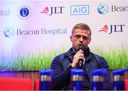 21 November 2018; Former Republic of Ireland international Damien Duff joined Beacon Hospital to launch its new sports medicine initiative with the Leinster Senior Football League, at the National Sports Campus in Abbotstown, Dublin. Previously, access to treatment for injured players in the Leinster Senior Football League could take a significant amount of time and was costly in many cases. Now, players injured during LSL training or match will have quick access to internationally renowned sports medicine experts at Beacon Hospital. Both JLT and AIG have signed up as insurance partners on the programme, so the bulk of injury related medical expenses will be covered, reducing costs for players. Beacon Hospital offers best in class treatments for injury prevention and management, with a multi-disciplinary or team-based approach. Beacon's Sports Medicine facility allows for rapid player access to sports medicine physicians, orthopaedic consultants and physiotherapy and radiology services. Photo by Stephen McCarthy/Sportsfile