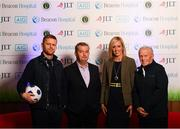 21 November 2018; Irish football legends Damien Duff, left, and John Giles, right, along with Dr Alan Byrne, Consultant in Sports and Exercise Medicine at Beacon Hospital, and JLT partner Amanda Harton joined Beacon Hospital to launch its new sports medicine initiative with the Leinster Senior Football League, at the National Sports Campus in Abbotstown, Dublin. Previously, access to treatment for injured players in the Leinster Senior Football League could take a significant amount of time and was costly in many cases. Now, players injured during LSL training or match will have quick access to internationally renowned sports medicine experts at Beacon Hospital. Both JLT and AIG have signed up as insurance partners on the programme, so the bulk of injury related medical expenses will be covered, reducing costs for players. Beacon Hospital offers best in class treatments for injury prevention and management, with a multi-disciplinary or team-based approach. Beacon's Sports Medicine facility allows for rapid player access to sports medicine physicians, orthopaedic consultants and physiotherapy and radiology services. Photo by Stephen McCarthy/Sportsfile