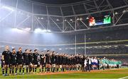 17 November 2018; The New Zealand All Black and Ireland teams stand for the National Anthem prior to the Guinness Series International match between Ireland and New Zealand at Aviva Stadium, Dublin. Photo by Brendan Moran/Sportsfile