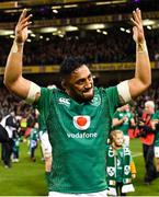 17 November 2018; Bundee Aki of Ireland celebrates after the Guinness Series International match between Ireland and New Zealand at Aviva Stadium, Dublin. Photo by Brendan Moran/Sportsfile