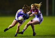21 November 2018; Niamh Collins of University College Dublin in action against Louise Ward of University of Limerick during the Gourmet Food Parlour HEC Ladies Division 1 League Final 2018 match between University College Dublin and University of Limerick at Stradbally in Laois. Photo by Matt Browne/Sportsfile
