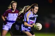 21 November 2018; Dearbhaile Beirne of University College Dublin in action against Shauna Molloy of University of Limerick during the Gourmet Food Parlour HEC Ladies Division 1 League Final 2018 match between University College Dublin and University of Limerick at Stradbally in Laois. Photo by Matt Browne/Sportsfile