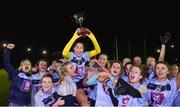 21 November 2018; University College Dublin captain, Molly Lamb lifts the cup as her team-mates celebrate after the Gourmet Food Parlour HEC Ladies Division 1 League Final 2018 match between University College Dublin and University of Limerick at Stradbally in Laois. Photo by Matt Browne/Sportsfile