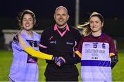 21 November 2018; Referee Kevin Phelan with team captains, Molly Lamb of University College Dublin captain, left, and Eimear Scally of University of Limerick before the Gourmet Food Parlour HEC Ladies Division 1 League Final 2018 match between University College Dublin and University of Limerick at Stradbally in Laois. Photo by Matt Browne/Sportsfile