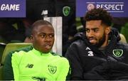 15 November 2018; Michael Obafemi and Cyrus Christie of Republic of Ireland prior to the International Friendly match between Republic of Ireland and Northern Ireland at the Aviva Stadium in Dublin. Photo by Harry Murphy/Sportsfile