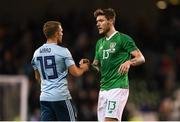 15 November 2018; Jamie Ward of Northern Ireland shakes hands with Jeff Hendrick of Republic of Ireland following the International Friendly match between Republic of Ireland and Northern Ireland at the Aviva Stadium in Dublin. Photo by Harry Murphy/Sportsfile