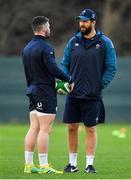 22 November 2018; Sam Arnold, left, with defence coach Andy Farrell during Ireland rugby squad training at Carton House in Maynooth, Kildare. Photo by Brendan Moran/Sportsfile