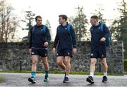 22 November 2018; Ireland players, from left, Rhys Ruddock, Jordi Murphy and Andrew Conway arriving to Ireland rugby squad training at Carton House in Maynooth, Kildare. Photo by Eóin Noonan/Sportsfile