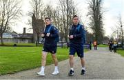 22 November 2018; Scrum halves Luke McGrath, left, and John Cooney arrive for Ireland rugby squad training at Carton House in Maynooth, Kildare. Photo by Brendan Moran/Sportsfile