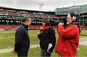 18 November 2018; Gráinne McElwain of TG4 interviews Cork manager John Meyler before the Aer Lingus Fenway Hurling Classic 2018 semi-final match between Clare and Cork at Fenway Park in Boston, MA, USA. Photo by Piaras Ó Mídheach/Sportsfile