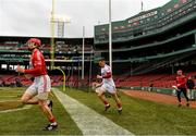 18 November 2018; Cork players, from left, Bill Cooper, Anthony Nash and Daniel Kearney make their way onto the pitch before the Aer Lingus Fenway Hurling Classic 2018 semi-final match between Clare and Cork at Fenway Park in Boston, MA, USA. Photo by Piaras Ó Mídheach/Sportsfile