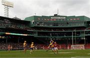 18 November 2018; Tony Kelly of Clare in action against Bill Cooper of Cork during the Aer Lingus Fenway Hurling Classic 2018 semi-final match between Clare and Cork at Fenway Park in Boston, MA, USA. Photo by Piaras Ó Mídheach/Sportsfile