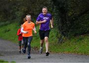 24 November 2018; parkrun Ireland in partnership with Vhi, added their 100th event on Saturday, 24th November, with the introduction of the Glen River parkrun in Co. Cork. Pictured is Clare McGonagle, from Cork City and Gearoid Gilley, general manager at VHI taking part in the Glen River parkrun. parkruns take place over a 5km course weekly, are free to enter and are open to all ages and abilities, providing a fun and safe environment to enjoy exercise. To register for a parkrun near you visit www.parkrun.ie. Photo by Eóin Noonan/Sportsfile