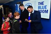 23 November 2018; Guests in the Blue Room with Leinster players Rory O'Loughlin and Jamison Gibson-Park prior to the Guinness PRO14 Round 9 match between Leinster and Ospreys at the RDS Arena in Dublin. Photo by Seb Daly/Sportsfile