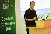 24 November 2018; Manager of UCD AFC Colin O'Neill speaks during the 2018 FAI Coach Education Conference at IT Carlow, in Carlow. Photo by Harry Murphy/Sportsfile