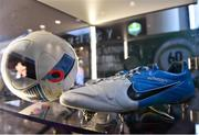 24 November 2018; A detailed view of former Republic of Ireland's Damien Duff's football boots, bearing the name of his son, Woody, at the National Football Exhibition at Dundrum Shopping Centre in Dundrum, Dublin. Photo by Seb Daly/Sportsfile