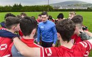 26 November 2018; Former Cork footballer, All-Star and 2018 Electric Ireland Minor Star Awards Judge, Daniel Goulding talks to players from the Tinahely GAA Club Minor Team. Electric Ireland provided Tinahely GAA Club Minor Team in County Wicklow with a Major training session, led by Daniel Goulding. Pictured at Tinahealy GAA Club, St Kevins Park, in Tinahely, Co. Wicklow. Photo by Matt Browne/Sportsfile