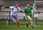 24 November 2018; Lyndsey Davey of Leinster in action against Amanda McLoone of Connacht during the Ladies Gaelic Annual Interprovincials at WIT Sports Campus in Waterford. Photo by David Fitzgerald/Sportsfile