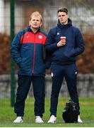 24 November 2018; Sligo Rovers manager Liam Buckley and Shelbourne manager Ian Morris during the 2018 FAI Coach Education Conference at IT Carlow, in Carlow. Photo by Harry Murphy/Sportsfile