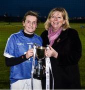 24 November 2018; LGFA President Marie Hickey presents the cup to Munster captain Briege Corkery following the Ladies Gaelic Annual Interprovincials at WIT Sports Campus, in Waterford. Photo by David Fitzgerald/Sportsfile