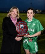 24 November 2018; LGFA President Marie Hickey presents the shield to Leinster captain Lyndsey Davey following the Ladies Gaelic Annual Interprovincials at WIT Sports Campus, in Waterford. Photo by David Fitzgerald/Sportsfile