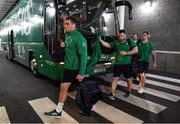 24 November 2018; Ireland players, from left, Rhys Ruddock, Cian Healy and Andrew Porter arrive prior to the Guinness Series International match between Ireland and USA at the Aviva Stadium in Dublin. Photo by Brendan Moran/Sportsfile