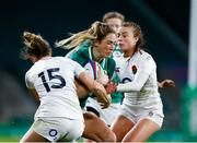 24 November 2018; Eimear Considine of Ireland is tackled by Sarah McKenna, left, and Kelly Smith of England during the Women's International Rugby match between England and Ireland at Twickenham Stadium in London, England. Photo by Matt Impey/Sportsfile