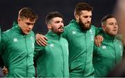 24 November 2018; Ireland players, from left, Garry Ringrose, Sam Arnold, Stuart McCloskey and John Cooney during the National Anthem the Guinness Series International match between Ireland and USA at the Aviva Stadium in Dublin. Photo by Ramsey Cardy/Sportsfile