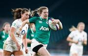 24 November 2018; Lauren Delany of Ireland on her way to scoring her side's second try during the Women's International Rugby match between England and Ireland at Twickenham Stadium in London, England. Photo by Matt Impey/Sportsfile
