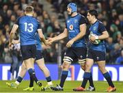 24 November 2018; Tadhg Beirne of Ireland, centre, is congratulated by teammate Garry Ringrose after scoring his side's fourth try during the Guinness Series International match between Ireland and USA at the Aviva Stadium in Dublin. Photo by Brendan Moran/Sportsfile