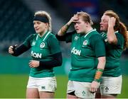 24 November 2018; Dejected Ireland players, from left, Claire Molloy, Leah Lyons and Fiona Reidy following the Women's International Rugby match between England and Ireland at Twickenham Stadium in London, England. Photo by Matt Impey/Sportsfile
