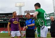 18 November 2018; Referee Colm Lyons with team captains Matthew O'Hanlon of Wexford and Declan Hannon  of Limerick before the Aer Lingus Fenway Hurling Classic 2018 semi-final match between Limerick and Wexford at Fenway Park in Boston, MA, USA. Photo by Piaras Ó Mídheach/Sportsfile