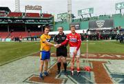 18 November 2018; Referee Johnny Murphy with team captains Patrick O'Connor of Clare and Bill Cooper of Cork before the Aer Lingus Fenway Hurling Classic 2018 semi-final match between Clare and Cork at Fenway Park in Boston, MA, USA. Photo by Piaras Ó Mídheach/Sportsfile