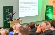 24 November 2018; Jim McGuinness speaking during the 2018 FAI Coach Education Conference at IT Carlow in Carlow. Photo by Piaras Ó Mídheach/Sportsfile