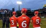 18 November 2018; Cork players, from left, Damien Cahalane, Eoin Cadogan, and Christopher Joyce look on from the sideline during the Aer Lingus Fenway Hurling Classic 2018 Final match between Cork and Limerick at Fenway Park in Boston, MA, USA. Photo by Piaras Ó Mídheach/Sportsfile