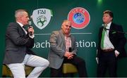 24 November 2018; Republic of Ireland U15 head coach Jason Donohue, left, alongside Niall Harrison, Emerging Talent Programme National Coordinator at Football Association of Ireland, and MC Trevor Welsh during the UEFA Elite Youth A Licence Graduation 2018 at The Talbot Hotel Carlow. Photo by Piaras Ó Mídheach/Sportsfile
