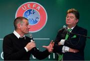 24 November 2018; Republic of Ireland U18 head coach Jim Crawford with MC Trevor Welsh during the UEFA Elite Youth A Licence Graduation 2018 at The Talbot Hotel Carlow. Photo by Piaras Ó Mídheach/Sportsfile