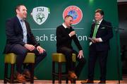 24 November 2018; Republic of Ireland U18 head coach Jim Crawford, centre, with Republic of Ireland U19 head coach Tom Mohan and MC Trevor Welsh during the UEFA Elite Youth A Licence Graduation 2018 at The Talbot Hotel Carlow. Photo by Piaras Ó Mídheach/Sportsfile