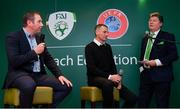 24 November 2018; Republic of Ireland U19 head coach Tom Mohan, left, alongside Republic of Ireland U18 head coach Jim Crawford and MC Trevor Welsh during the UEFA Elite Youth A Licence Graduation 2018 at The Talbot Hotel Carlow. Photo by Piaras Ó Mídheach/Sportsfile