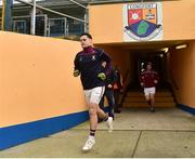 25 November 2018; Mullinalaghta St Columba's captain Shane Mulligan leads his team-mates out for the warm-up before the AIB Leinster GAA Football Senior Club Championship semi-final match between Mullinalaghta St. Columba's and Eire Og at Glennon Brothers Pearse Park in Longford. Photo by Matt Browne/Sportsfile
