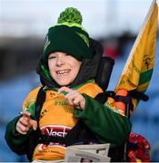 25 November 2018; Corofin supporter Tomas McLoughlin, age 8, from Corofin, Co Galway prior to the AIB Connacht GAA Football Senior Club Championship Final match between Ballintubber and Corofin at Elvery's MacHale Park in Castlebar, Mayo. Photo by David Fitzgerald/Sportsfile