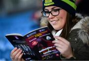 25 November 2018; Emma Sice from Corofin, Co Galway, inspects the programme prior to the AIB Connacht GAA Football Senior Club Championship Final match between Ballintubber and Corofin at Elvery's MacHale Park in Castlebar, Mayo. Photo by David Fitzgerald/Sportsfile