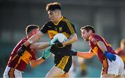 25 November 2018; Tony Brosnan of Dr Crokes is tackled by Eoin O'Brien, left, and Brian Curtin of St Joseph's Miltown Malbay during the AIB Munster GAA Football Senior Club Championship Final match between Dr. Crokes and St. Josephs Miltown Malbay at the Gaelic Grounds in Limerick. Photo by Eóin Noonan/Sportsfile