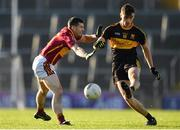 25 November 2018; David Shaw of Dr Crokes in action against Enda O'Gorman of St Joseph's Miltown Malbay during the AIB Munster GAA Football Senior Club Championship Final match between Dr. Crokes and St. Josephs Miltown Malbay at the Gaelic Grounds in Limerick. Photo by Eóin Noonan/Sportsfile