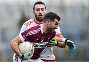 25 November 2018; Simon Cadam of Mullinalaghta St Columba's in action against Chris Burke of Eire Og during the AIB Leinster GAA Football Senior Club Championship semi-final match between Mullinalaghta St. Columba's and Eire Og at Glennon Brothers Pearse Park in Longford. Photo by Matt Browne/Sportsfile
