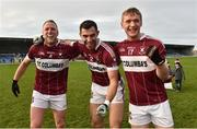 25 November 2018; Mullinalaghta St Columba's players from left Conor Brady, Simon Cadam and Luke Meehan after the AIB Leinster GAA Football Senior Club Championship semi-final match between Mullinalaghta St. Columba's and Eire Og at Glennon Brothers Pearse Park in Longford. Photo by Matt Browne/Sportsfile