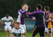 25 November 2018; David Nestor, left, and Ross O'Carroll of Kilmacud Crokes celebrate after the AIB Leinster GAA Football Senior Club Championship semi-final match between Kilmacud Crokes and Portlaoise at Parnell Park in Dublin. Photo by Daire Brennan/Sportsfile